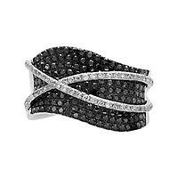 EFFY® 1 1/8 ct. tw. Black & White Diamond Ring in 14K White Gold