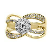 EFFY® 5/8 ct. tw. Diamond Cluster Ring in 14K Yellow & White Gold