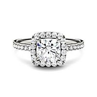 Forever One® 1 3/8 ct. tw. Moissanite Halo Ring in 14K White Gold