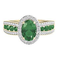 Emerald & 1/4 ct. tw. Diamond Ring in 10K Yellow Gold