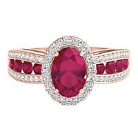 Ruby & 1/4 ct. tw. Diamond Ring in 10K Rose Gold