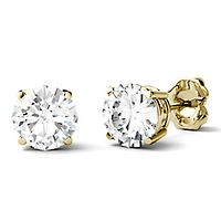 Forever One® 2 ct. tw. Moissanite Stud Earrings in 14K Yellow Gold