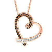 1/5 ct. tw. Sparkling Champagne® & White Diamond Heart Pendant in 10K Rose Gold