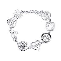 Mother Daughter Friends Link Charm Bracelet in Sterling Silver