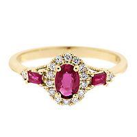 Ruby & 1/7 ct. tw. Diamond Ring in 10K Yellow Gold