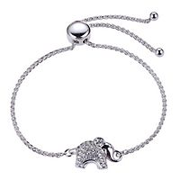 Lab-Created White Sapphire Elephant Bolo Bracelet in Sterling Silver