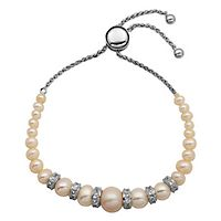 Freshwater Cultured Pearl & Lab-Created White Sapphire Bolo Bracelet in Sterling Silver