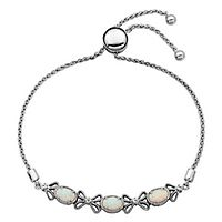 Lab-Created Opal & White Sapphire Bolo Bracelet in Sterling Silver