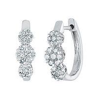Mirabela® 1/2 ct. tw. Diamond Hoop Earrings in 14K White Gold