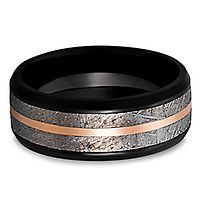 Lashbrook® Men's Band in Zirconium, Meteorite & 14K Rose Gold, 8MM
