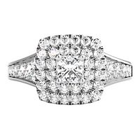 My Diamond Story® 1 1/4 ct. tw. Diamond Halo Engagement Ring in 14K White Gold