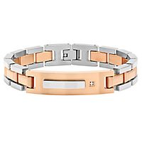Men's Two-Tone Diamond Bracelet in Stainless Steel