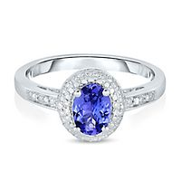Tanzanite & Diamond Halo Ring in Sterling Silver