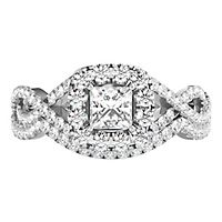 1 ct. tw. Diamond Halo Engagement Ring Set in 14K White Gold
