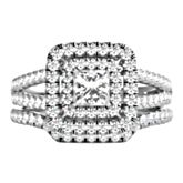 14K white gold engagement ring set with 1 princess cut center diamond weighing approximately 3/8 ct. tw. and 95 round brilliant cut diamonds weighing approximately 1 1/8 ct. tw.