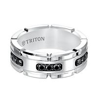 Triton Men's 1/3 ct. tw. Black Diamond Band in Tungsten, 8MM
