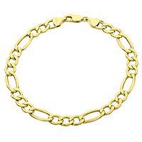 Endura Gold® Men's Polished Figaro Bracelet in 14K Yellow Gold