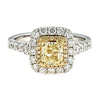 1 3/4 ct. tw. Yellow & White Diamond Ring in 18K White & Yellow Gold