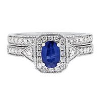 Blue Sapphire & 3/8 ct. tw. Diamond Ring Set in 14K White Gold
