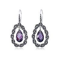 Purple Simulated Diamond & Marcasite Drop Earrings in Sterling Silver