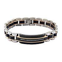 Men's Simulated Diamond Bracelet in Stainless Steel & Carbon Fiber