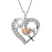 Diamond Mom Heart Pendant in Sterling Silver & 14K Rose Gold over Sterling Silver