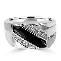 Men's Onyx & Diamond Ring in 10K White Gold