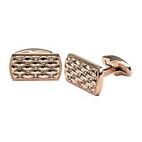 Men's Simulated Diamond Rectangular Cuff Links in Stainless Steel