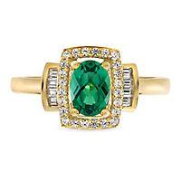 Emerald & 1/4 ct. tw. Diamond Ring in 10K Yellow Gold