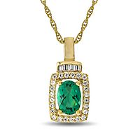 Emerald & 1/5 ct. tw. Diamond Pendant in 10K Yellow Gold