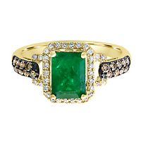 EFFY® Emerald & 3/8 ct. tw. Champagne & White Diamond Ring in 14K Yellow Gold