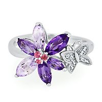 Amethyst, Pink Tourmaline & Lab-Created White Sapphire Flower & Butterfly Ring in Sterling Silver