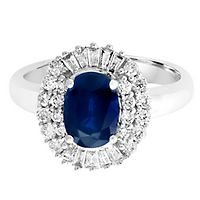 EFFY® Blue Sapphire & 1/2 ct. tw. Diamond Ring in 14K White Gold