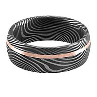 Lashbrook® Band in 14K Rose Gold & Damascus Steel, 8MM