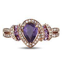 Purple Sapphire & 1/4 ct. tw. Diamond Ring in 10K Rose Gold