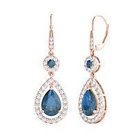 London Blue Topaz & 1/3 ct. tw. Diamond Earrings in 10K Rose Gold