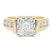 1 1/2 ct. tw. Multi-Diamond Engagement Ring in 14K Yellow & White Gold