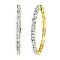 1/2 ct. tw. Diamond Hoop Earrings in 10K Yellow Gold