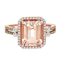 Helzberg Limited Edition® Morganite & 1/3 ct. tw. White & Champagne Diamond Ring in 14K Rose Gold