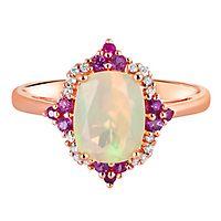 Opal, Ruby & Diamond Ring in 10K Rose Gold