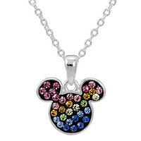 Disney's Mickey Mouse Multi-Colored Crystal Children's Pendant in Sterling Silver