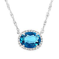 Blue Topaz & Lab-Created White Sapphire Necklace in Sterling Silver