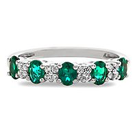 Emerald & Diamond Ring in 10K White Gold