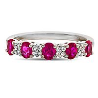Ruby & Diamond Ring in 10K White Gold