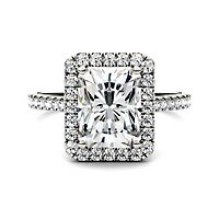 Forever One® 3 ct. tw. Moissanite Halo Engagement Ring in 14K White Gold