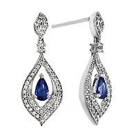 Blue Sapphire & 1/3 ct. tw. Diamond Earrings in 10K White Gold