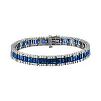Sapphire & 2 ct. tw. Diamond Bracelet in 14K White Gold
