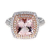 Morganite & 1/2 ct. tw. Diamond Ring in 14K White & Rose Gold