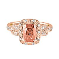 TRULY™ Zac Posen Morganite & 1/5 ct. tw. Diamond Engagement Ring in 14K Rose Gold