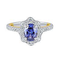 TRULY™ Zac Posen Tanzanite & 3/4 ct. tw. Diamond Engagement Ring in 14K White Gold